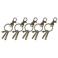 5pcs Vintage Round Key Ring Key Chain Clip Swivel Lobster Clasp Bronze Tone