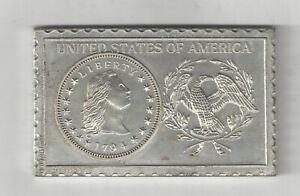 1794 U.S. FLOWING HAIR HALF DIME NUMISTAMP MEDAL COIN MORT REED 1976 PLAQUE