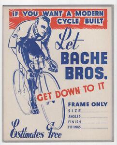 Bache Bros Cycles - Vintage shop display card, c1950s