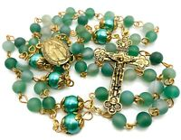 Catholic Rosary Necklace Matte Stone Beads Green 10mm Pearl Miraculous Medal