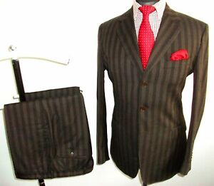 PAUL SMITH ITALY SUIT Jacket Trousers 42 Brown Striped 100% WOOL Waist 36 Leg 32