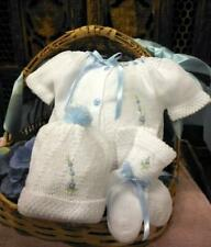 NWT Will'beth Blue Knit 4pc Diaper Set Preemie Baby Girls Boys Hat Booties 00