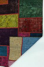 Modern Patchwork Stone Wash Used Look Perser Teppich Orientteppich 3,01 X 1,97