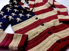 Ralph Lauren Denim Supply Women American Flag Chunky Shawl Knit Sweater Cardigan