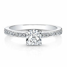 Fine 0.66 CT Real Natural Diamond Engagement Ring 14K White Gold Cushion Size N