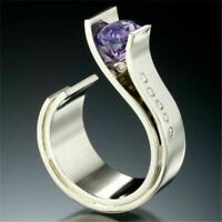 Vintage Women Men 925 Silver Amethyst Ring Wedding Jewelry Gift Size 6-10