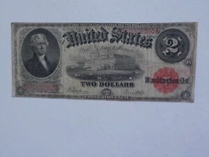 Currency Note 1917 2 Dollar Bill Red Seal Note Paper Money United States USA