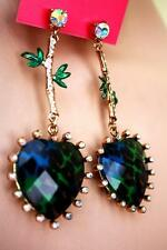 100% AUTHENTIC BETSEY JOHNSON LEOPARD HEART ASIAN JUNGLE EARRINGS -no immitation