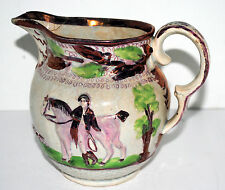 Antique Early 1900's STAFFORDSHIRE PINK LUSTER PITCHER Hunting scene