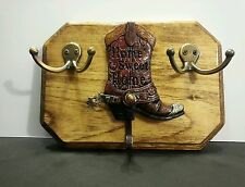 WESTERN DESIGN WALL MOUNT KEY HOLDER COWBOY BOOT AND TWO DOUBLE HOOKS