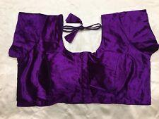 "48"" XXXL Designer Saree Blouse Indian Bollywood Sari Choli Purple Velvet AA33"