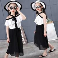 Toddler Baby Kids Girls Outfits Clothes Chiffon T-shirt Tops+Wide Leg Pants Set