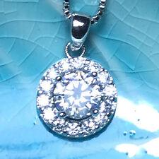 Gorgeous 3.24 Ct Round Diamond Halo Pendant Necklace 14K White Gold Plated WW22