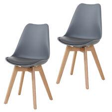 Stuhl Esszimmerstühle 2er Set Stühle für Wartezimmer Büro Grau Holz Wohnzimmer