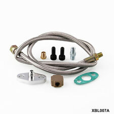 BRAIDED STAINLESS STEEL TURBO CHARGER 1/8 NPT FITTING OIL FEED LINE/HOSE KIT