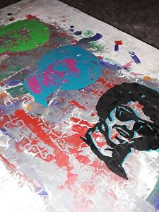 3 Original OOAK Oil on Puzzle Pop Art Pieces Mounted on Board Titled LEROI-'99