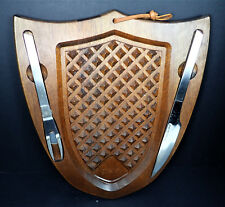 Mid Century Wood Meat Carving Cutting Board Stainless Steel Fork Knife  Shield