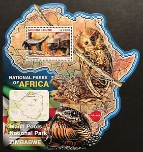 SIERRA LEONE WILD ANIMALS MAP SHAPED STAMPS '16 MNH NAT PARKS AFRICA OWL TURTLE