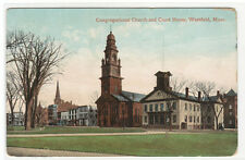 Congregational Church Court House Westfield Massachusetts 1910 postcard