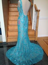 Jovani 21789 Blue Open Back Lace  Formal Prom Pageant Dress Gown 8