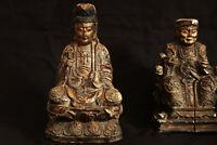 Paire de statues en bois doré, Chine, XIXème siècle