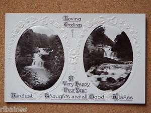 R&L Postcard: Happy New Year, Waterfall Scene, Stereo Stereoscopic View