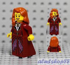 LEGO - Female Minifigure Dark Red Dress & Dark Orange Hair Smile Princess Castle