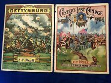 2 chromolitho E T Paull sheet music GETTYSBURG 1917; & CUSTER LAST CHARGE 1922