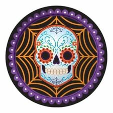 "Day of the Dead Halloween Sugar Skull 8 9"" Dinner Plates"