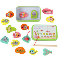 Wooden Toy Fish Magnetic Fishing Game Tin Box Children Kids Educational Toy #8Y