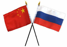 "China Chinese & Russia Russian Flags 4""x6"" Desk Set Table Gold Base"