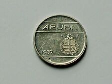 Aruba (Netherlands) 1989 25 CENTS Coin with Lamination Indent (obverse)