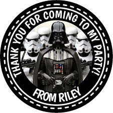 PERSONALISED GLOSSY STAR WARS DARTH VADER PARTY STICKERS, SEALS LABELS