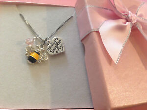 Cute Bumble bee children adult heart charm necklace n gift box choose charm