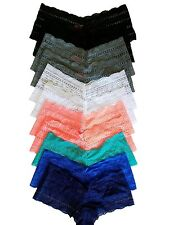 Womans Plus Size Panties Boy Shorts Lace Cheekys - 12 pack 2x/3x