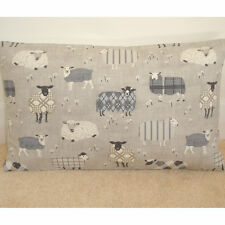 "20""x12"" Oblong Bolster Cushion Cover Baa Tartan Sheep Grey Beige and Cream 12x20"
