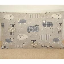 "16""x12"" Oblong Bolster Cushion Cover Baa Tartan Sheep Grey Beige and Cream 12x16"