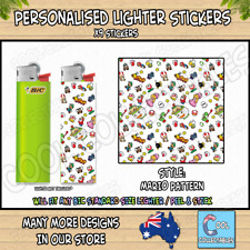Lighter Stickers / Wrap x9 - Standard Bic Lighter - MARIO PATTERN