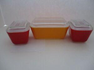 Pyrex Friendship Red 501 & Orange 502 Casseroles & Lids