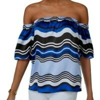 INC International Concepts NEW Off The Shoulder Satin Top Blue Striped Medium