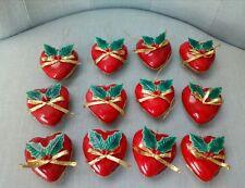 Vintage lotto 12 addobbi palline Natale albero tree Christmas cuore heart