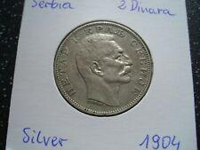 More details for 1904 serbia very rare silver 2 dinara - petar i xf /114/f