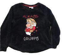 Disney Always Grumpy XL Pullover Top Fluffy Soft Plush Cozy Black Long Sleeve