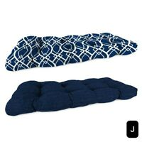 """New, Navy Trellis to Solid Outdoor Wicker Settee All Weather Cushion, 48"""" x 18"""""""