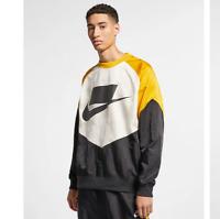 NEW Nike Sportswear NSW Men's Woven Crew Black White Yellow AR1642-010 2019
