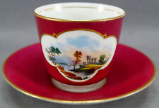Brown Westhead Moore HP Ruins Maroon Gold Bone China Tea Cup & Saucer 1860 - 70s