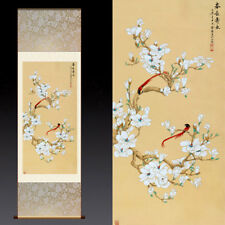 Chinese Silk Scroll Painting Magnolia Flower Home Office Decoration(春长寿永花鸟图)