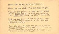 Bellflower CA to Bangor ME Postal Ad~King Kelley Lemon Juice 1939 Wescott & Son