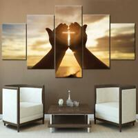 Jesus Hands Prayer Christian 5 panel canvas Wall Art Home Decor Print Poster