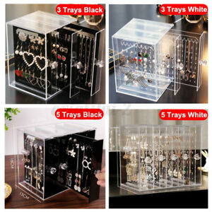 Acrylic Earring Rings Necklace Storage Box 5 Trays Case Display Stand Drawer